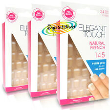3x Elegant Touch Natural French Manicure 145 XS Pre Glued False Artificial Nails