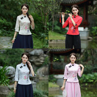 Womens Embroidered Chinese QiPao Cheongsam Tops Blouse Retro Buckle Slim T-shirt