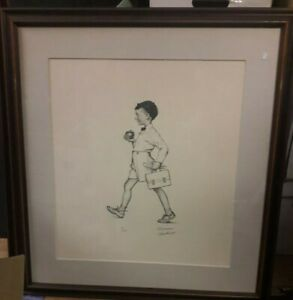 Norman Rockwell Framed Pencil Signed Lithograph School Boy American Family #68