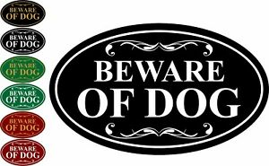 "Beware of Dog Aluminum Sign 12"" x 7"" Oval Wall or Door"
