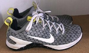 Nike Metcon DSX Flyknit 2 Sneakers Grey w/ black nike print Mens Sz 11.5 trainer
