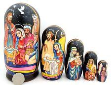 Ruso Belén Navidad Muñeca Rusa 5 Muñecas-caja Virgen María & Bebé Jesús