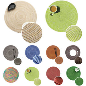 Round Woven Table Mat Heat Insulation Placemat Coaster Non-Slip Tableware Mats