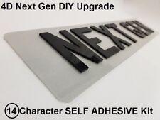 4D Next Gen Laser Cut DIY Number Plate Characters Letters BLACK 14 Letter KIT