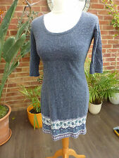 Fat Face Knee Length 3/4 Sleeve Scoop Neck Dresses for Women