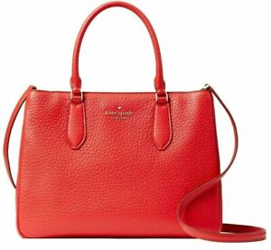New Kate Spade Leighton Large Satchel Chunky Pebble Leather Digital Red
