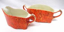 Japanese Lusterware Porcelain Orange Sugar Creamer Meito Japan Mid Century