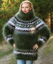 Green hand knitted mohair sweater SUPERTANYA Icelandic handmade Nordic jumper