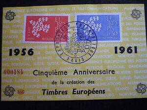 Postal History- Europa 1961- France- Scott# 1005-1006 - First Day Souvenir Cover
