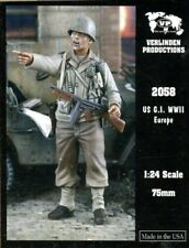 Verlinden 1:24 WWII US G.I in Europe w/ Gun Resin Figure Kit #2058