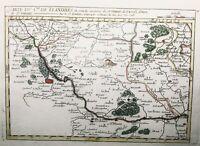 Rare Carte Saint Omer 1748 couleur Furnes Flandres Cassel Merville Berg Arques