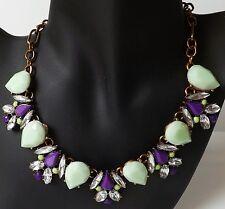 Kette Halskette Collier Vintage Strass Resin klar mint grün lila antik gold