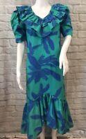 NWOT- Hilo Hattie Sz 10 Women's Hawaiian Floral Ruffle Puffy Sleeve Hi-Lo Dress