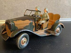 Tippco Militär Jeep Mechanisches KFZ mit Besatzung Vorkrieg Blechspielzeug