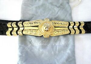 JUIDTH LEIBER Black Snakeskin Roaring Lion Belt In Original Dust Bag