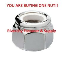 (1) 1/4-20 Hex Nylon Insert Lock Nuts 1/4 x 20 Coarse Thread Nylock Chrome