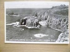 Real Photo Postcard - ENYS DODNAN & ARMED KNIGHT, LANDS END, CORNWALL