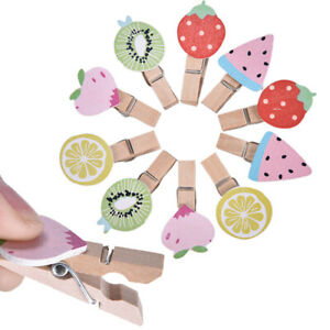 10x Fruit Wooden Clips For Photo Clips Clothespin Craft Decoration Clips  QA