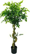 Artificial Ficus Tree Twisted Trunk Realistic Plant Indoor Outdoor Potted 137cm