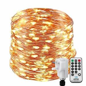 22M 200 LED Copper Wire Fairy Lights Mains Powered, NEXVIN Warm White String