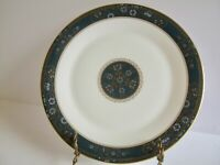 "Royal Doulton Carlyle Dinner Plate 10 5/8"" Teal Rim Blue Gold Flowers England"