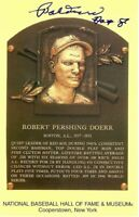 Bobby Doerr Signed Autographed Postcard Yellow Hall of Fame Plaque GV758279