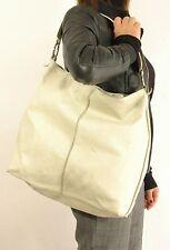 "Borsa shopping pelle morbida by ""FURLA"" originale color crema vintage Bag-Q1"