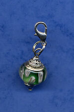 BEAUTIFUL 925 SILVER CORE MURANO BEAD & TIBETAN SILVER CLIP ON CHARM GREEN #8