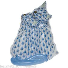 HEREND, TWO KITTENS PORCELAIN FIGURINE, BLUE FISHNET, FLAWLESS, $435