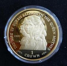 1999 SILVER PROOF GOLD PLATED GIBRALTAR 1 CROWN COIN + COA THE QUEEN MOTHER