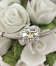 Pandora due toni S / S & 14CT GOLD PRINCE George BABY CARRIAGE # 791209cz