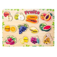 Eliiti Wooden Fruits Puzzle for Kids 3 to 6 Years Old Boys Girls Toy
