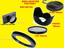 ADAPTER+UV FILTER+HOOD+LENS CAP 52mm TO CAMERA SONY DSC-RX100M2 RX100M3 RX100M4