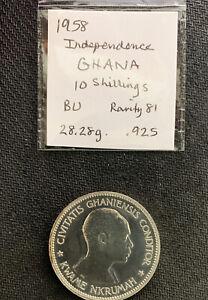 Ghana 1958 10 Shillings Proof / 28 Gr .925 Silver & *No Reserve!