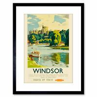 Travel Windsor Castle Thames River Boat Royal Seat UK Framed Print 9x7 Inch