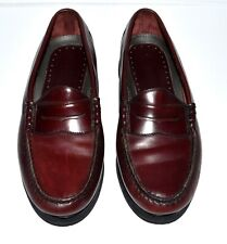 Rockport Modern Prep Handsewn Burgundy Leather Mens Penny Loafers Size 11W