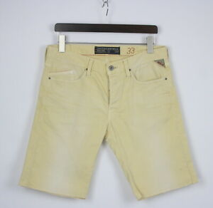 REPLAY M 997 Men's W33 Stretchy Fade Effect Button Fly Denim Shorts 24765-JS