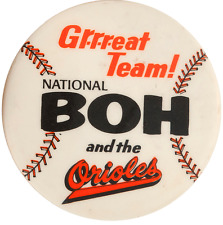 "1980's Baltimore Orioles Large Pin Pinback National Beer Natty Boh 2 1/2"" Dia"