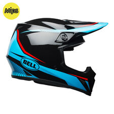 BELL MX-9 MIPS MOTOCROSS MX BIKE HELMET - TORCH CYAN / BLACK / RED - ROAD LEGAL