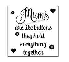 vinyl decal sticker glass block Ikea frame Mums are like buttons they hold