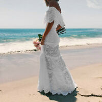Wedding Beach Women Sling Cross Elegant Party Evening Slim Hollow Lace Maxi Dres
