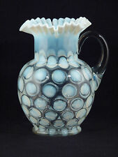 """Fenton WHITE COIN DOT Opalescent Ruffled - Crimped Edge 9 1/2"""" Glass Pitcher"""