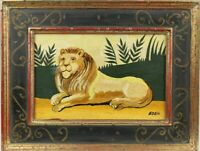 Vintage Original Naive Folk Art Reclining LION Painting on Board Signed EDEN