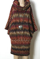SMASH Kleid Gr. M bunt kurz/mini 3/4-Arm Rollkragen Fledermaus Muster Hüft Kleid