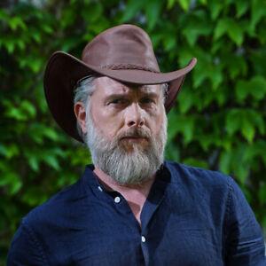 AUSTRALIA Damen Herren Cowboy Leder Wickel Hut Rindsleder Horse Brown Größe M