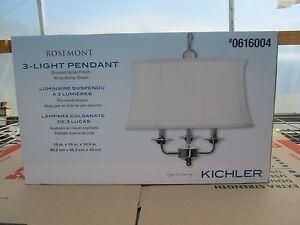 Free Ship, Kichler Rosemont 18.98-in Brushed Nickel Vintage Single Bell Pendant