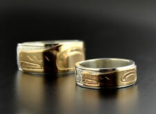 Combination Native Wedding Band 14k Gold and Sterling Haida Ring Wolf