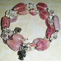 Memory Wire Bracelet with Pink & Clear Glass Beads  Charm on ends FREE SHIPPING