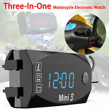 3 in1 LED Electronic Digital Time Clock Thermometer Voltmeter For 12V Motorcycle