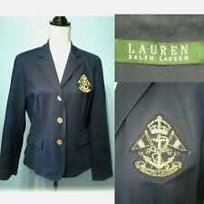 Ralph Lauren L Navy Blue Crest Crested Fitted Riding Jacket Blazer Polo Cotton